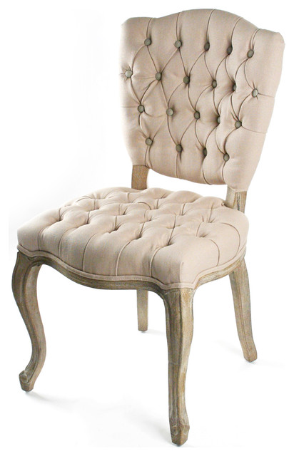 Incredible Tufted Dining Chair French Country Tufted Hemp Linen Piaf Dining Chair Traditional