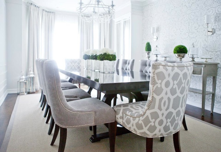 Incredible Tufted Dining Room Set Gray Velvet Dining Chairs Transitional Dining Room Lux Decor