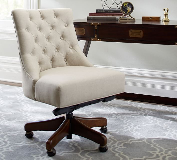 Incredible Upholstered Office Chair Hayes Tufted Swivel Desk Chair Pottery Barn