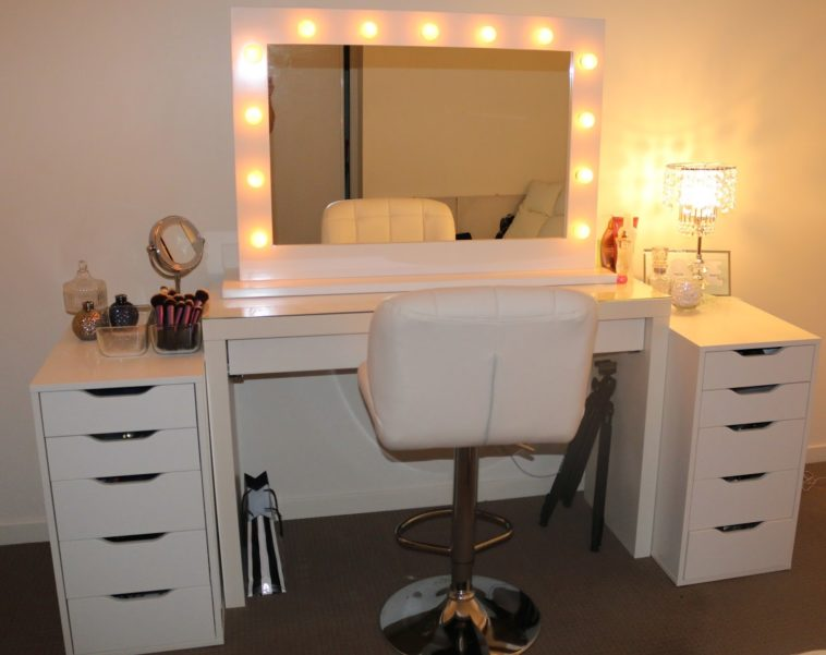Incredible Vanity With Mirror And Stool Bathroom White Wooden Dresser Table With Lighted Mirror Plus