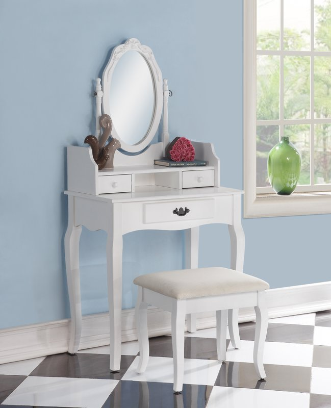 Incredible Vanity With Mirror And Stool Makeup Tables And Vanities Youll Love Wayfair