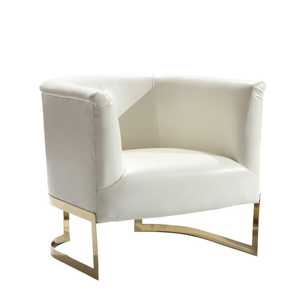Incredible White And Gold Accent Chair Armen Living Elite Contemporary Accent Chair In White Leatherette