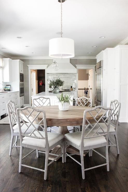 Incredible White Kitchen Dining Chairs Open Plan Dining Room Located Beside A Large Kitchen Features A
