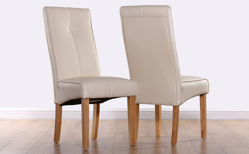 Incredible White Leather High Back Dining Chairs Ivory Leather Dining Room Chairs Completureco