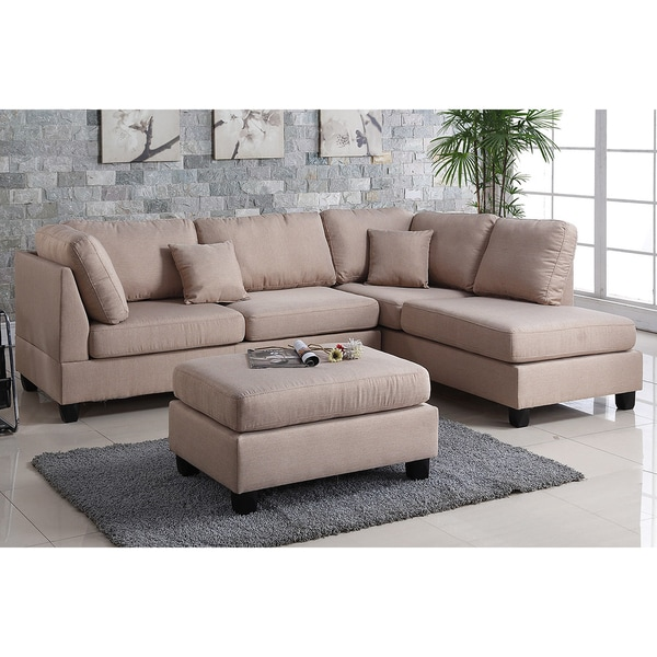 Innovative 3 Piece Sectional Couch Pistoia 3 Piece Sectional Sofa With Ottoman Upholstered In Fabric