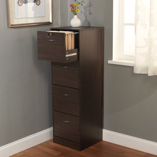 Innovative 4 Drawer Wood File Cabinet With Lock 4 Drawer Filing Cabinet Office Storage Home Furniture Brown Wood