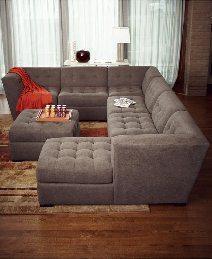 Innovative 6 Person Sectional Sofa Roxanne Fabric 6 Piece Modular Sectional Sofa With Ottoman