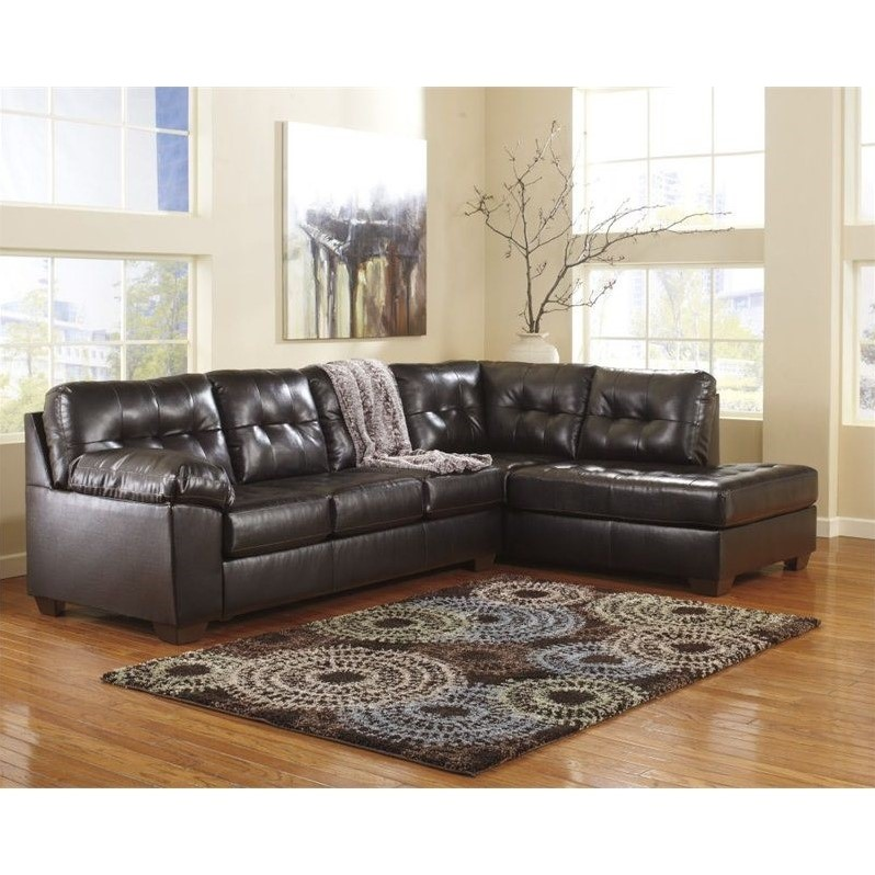 Innovative Ashley Two Piece Sectional Ashley Furniture Alliston 2 Piece Leather Sectional Sofa In