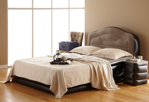 Innovative Bed With Side Headboard Inflatable Bed With Side Table Sharper Image