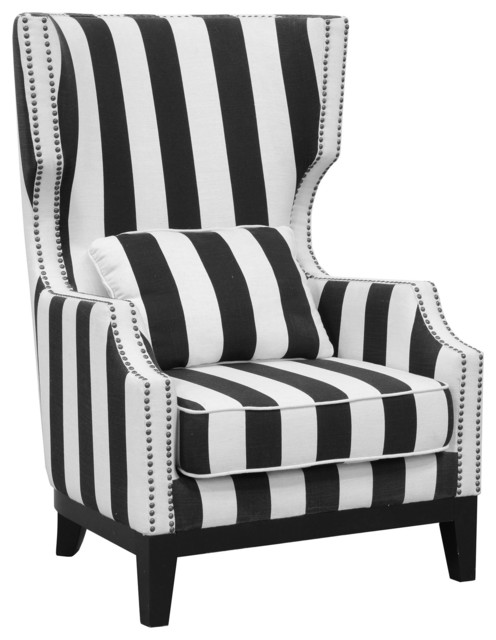Innovative Black And White Accent Chair Sandy Club Chair Striped Contemporary Armchairs And Accent