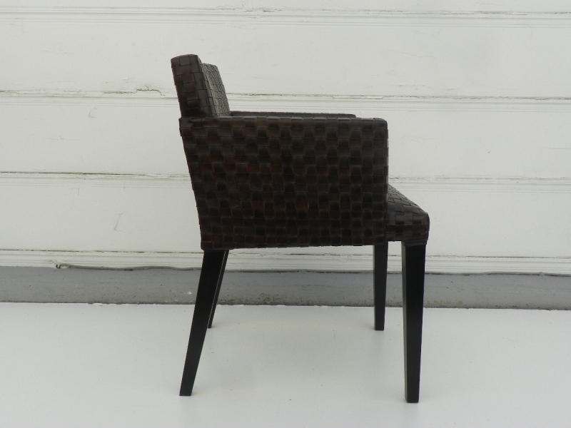 Innovative Black Leather Dining Chairs With Arms Woven Leather Dining Arm Chair Mecox Gardens Hastac 2011