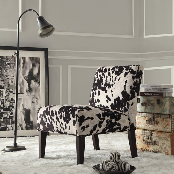Innovative Black White Accent Chair Black And White Faux Cow Hide Fabric Accent Chair Inspire Q