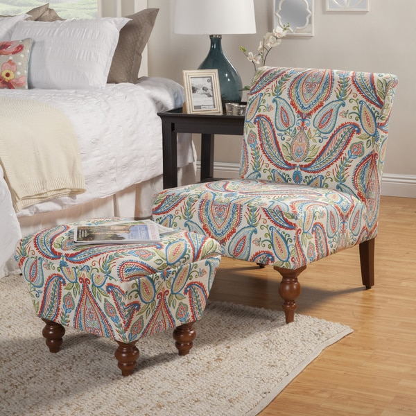 Innovative Blue Accent Chair With Ottoman Homepop Coral And Turquoise Paisley Accent Chair And Ottoman