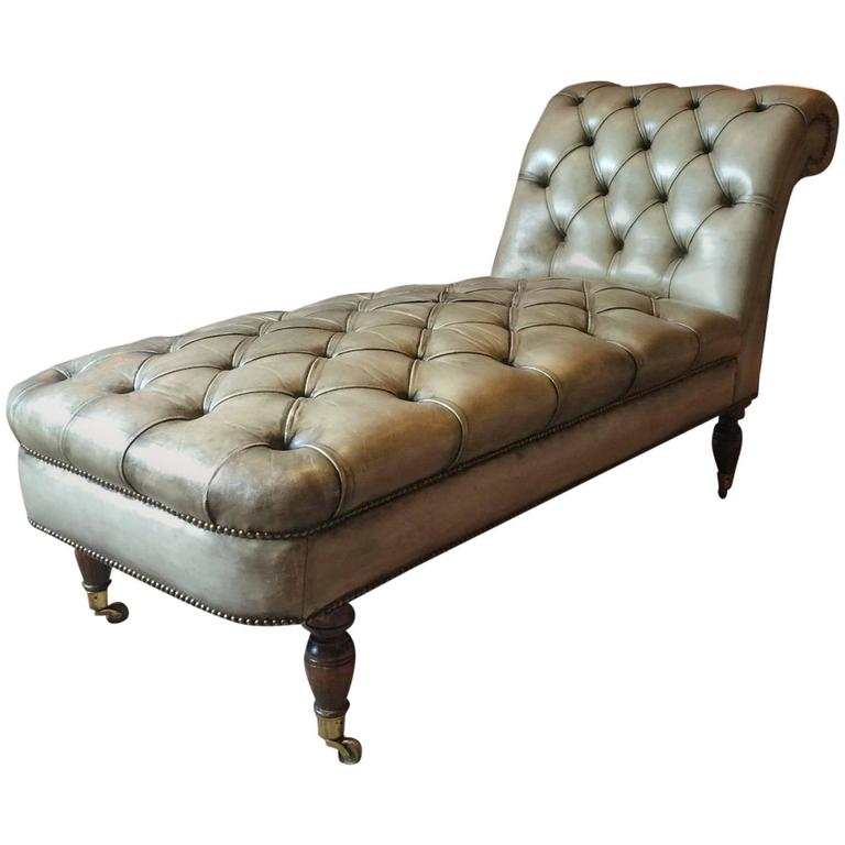 Innovative Brown Leather Chaise Longue Antique Style Chesterfield Chaise Longue Leather Button Back In