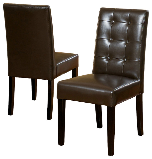 Innovative Brown Leather Kitchen Chairs Gillian Leather Dining Chair Set Of 2 Transitional Dining