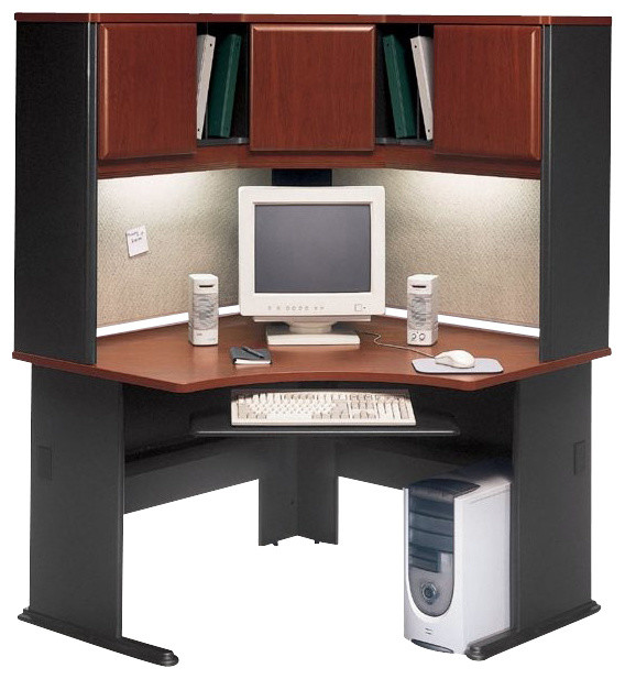 Innovative Corner Computer Desk With Hutch Bush Series A 48 Corner Computer Desk With Hutch In Hansen Cherry