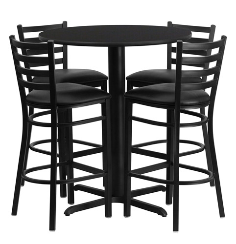 Innovative Dining Stool Chairs Bar Height Round Dining Table Set With 4 Bar Stool Chairs