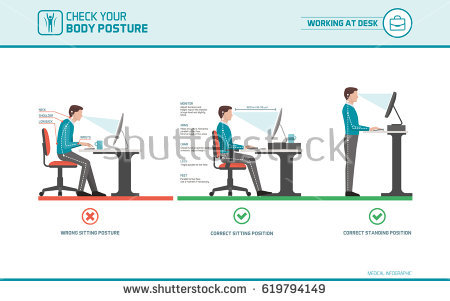 Innovative Ergonomic Way To Sit At A Desk Posture Stock Images Royalty Free Images Vectors Shutterstock