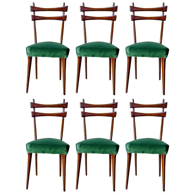 Innovative Green Dining Chairs Mid Century Italian Dining Chairs Set Of Six In Velvet 1950s For