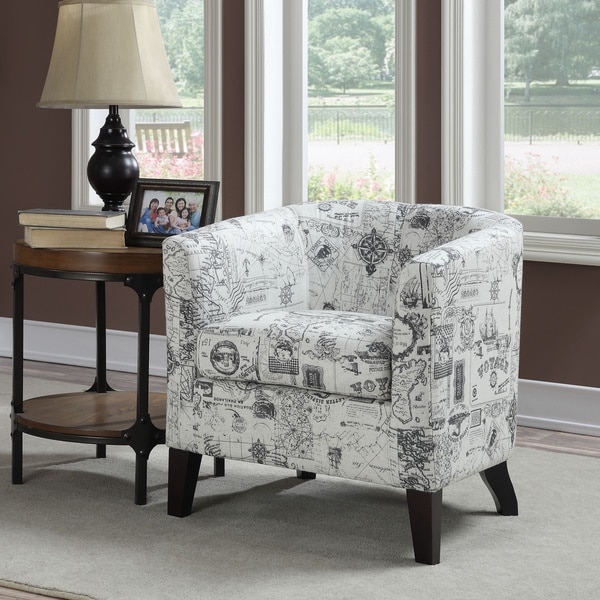 Innovative Grey And White Accent Chair Jerry Whitegrey Print Accent Chair Free Shipping Today