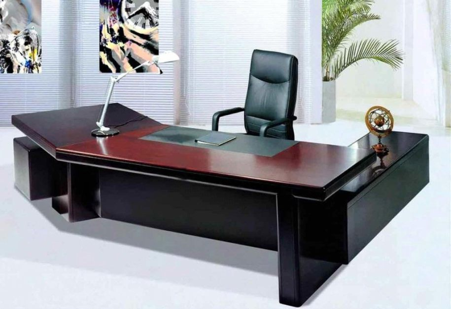 Innovative Large Wooden Office Desk Table Designs For Office White Black Colors Wooden Computer Desk