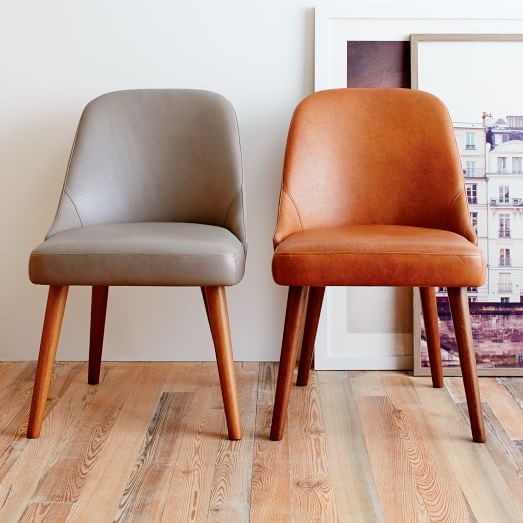 Innovative Leather And Wood Dining Chairs Mid Century Leather Dining Chair West Elm