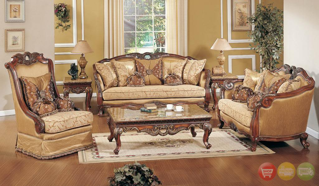 Innovative Living Room Chair Set Exposed Wood Luxury Traditional Sofa Loveseat Formal Living Room