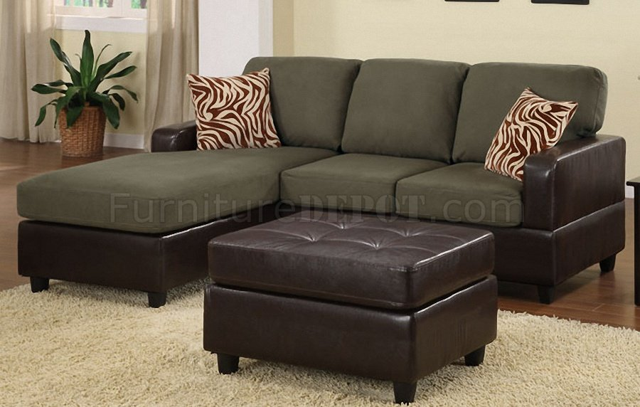 Innovative Microfiber Leather Sectional Sofa F7670 Small Sectional Sofa Ottoman In Sage Microfiber Poundex