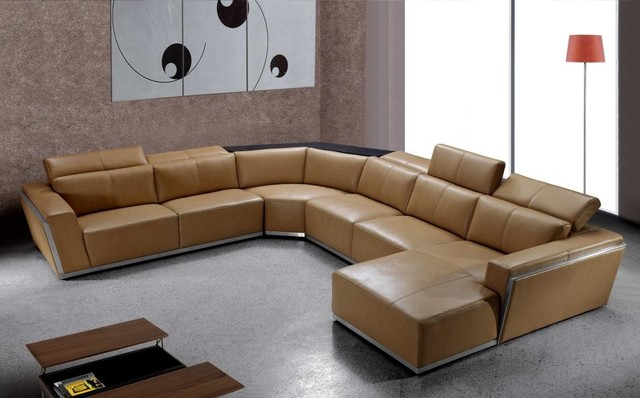 Innovative Modern Brown Leather Sofa Contemporary Brown Leather Sectional With Retractable Headrests