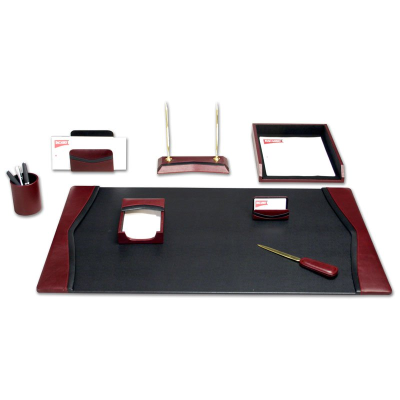Innovative Office Desk Set Dacasso Brescia Leather 7 Piece Desk Set Hayneedle