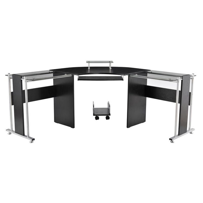 Innovative Office Workstation Computer Homcom 69 In Modern L Shaped Symmetrical Glasstop Office