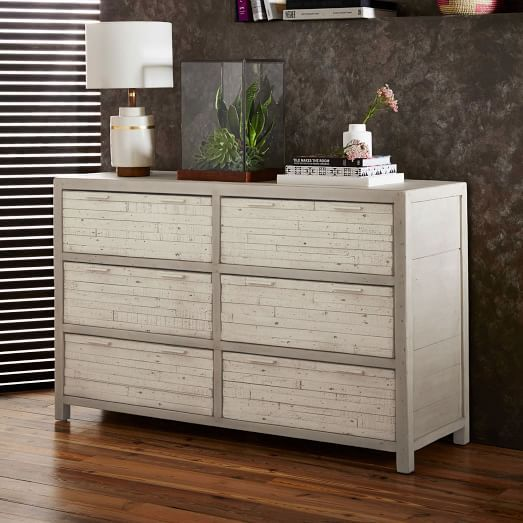Innovative Pine 6 Drawer Dresser West Elm Bay Reclaimed Pine 6 Drawer Dresser Whitewashed 55w