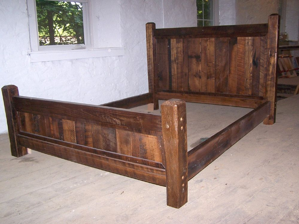 Innovative Queen Size Bed Frame Buy Hand Crafted Reclaimed Antique Oak Wood Queen Size Rustic Bed