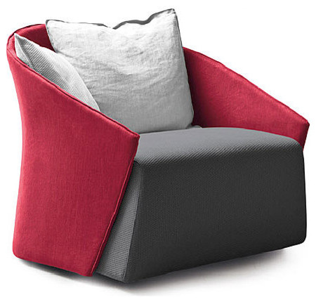Innovative Red And Grey Accent Chair Bustier Armchair Contemporary Armchairs And Accent Chairs
