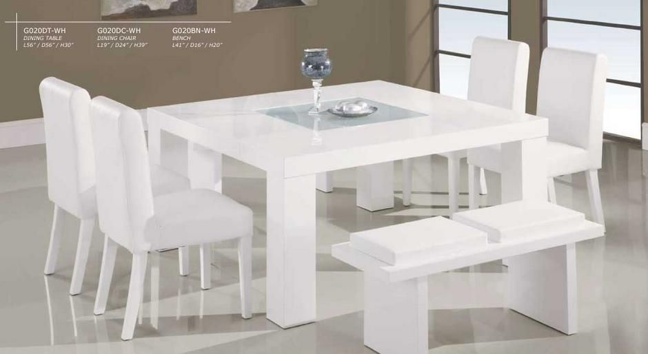 Innovative Square White Dining Table Parade Dinette White Wooden Square Dining Table W Middle Glass