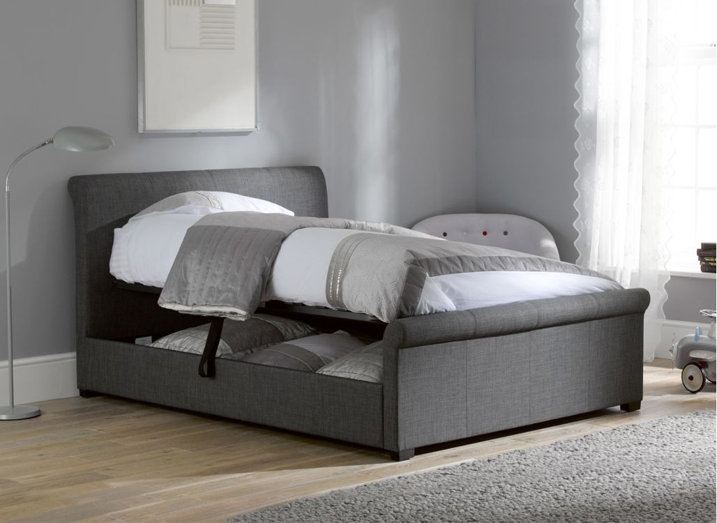 Innovative Upholstered Bed Frame With Drawers Upholstered King Bed With Storage Ideas Modern King Beds Design