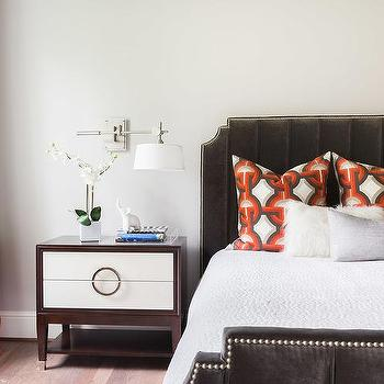 Innovative White And Brown Nightstand Brown Velvet Nailhead Bed Design Ideas