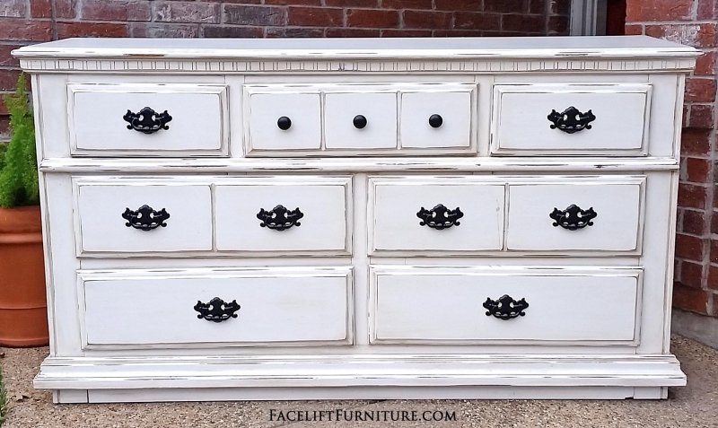 Innovative White And Dark Wood Dresser Dressers Painted Glazed Distressed Facelift Furniture