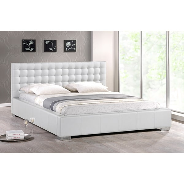 Innovative White King Size Bed Madison White Modern King Size Bed With Upholstered Headboard