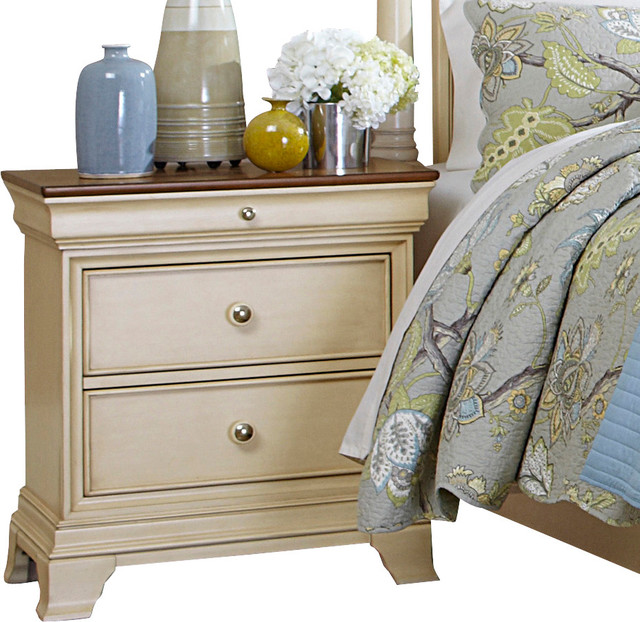 Innovative White Nightstand With Wood Top Homelegance Inglewood Ii 2 Drawer Nightstand In Antique White