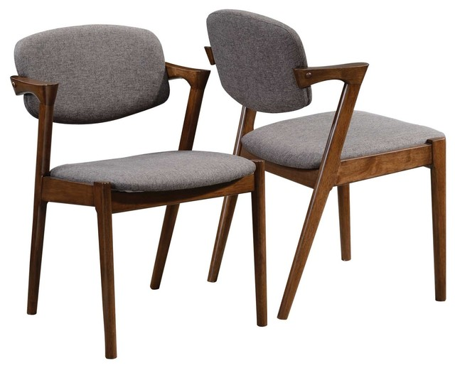 Innovative Wooden Dining Chairs With Padded Seats Walnut Wood Dining Side Chairs With Fabric Backs Set Of 2