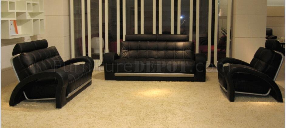 Lovable 4 Piece Leather Living Room Set Leather Modern 4 Piece Living Room Set Bentley Black Bn B201