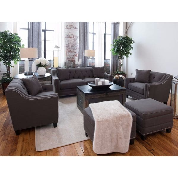 Lovable 5 Piece Living Room Furniture Sets Shop Santa Monica Collection Grey Linen Fabric 5 Piece Living Room
