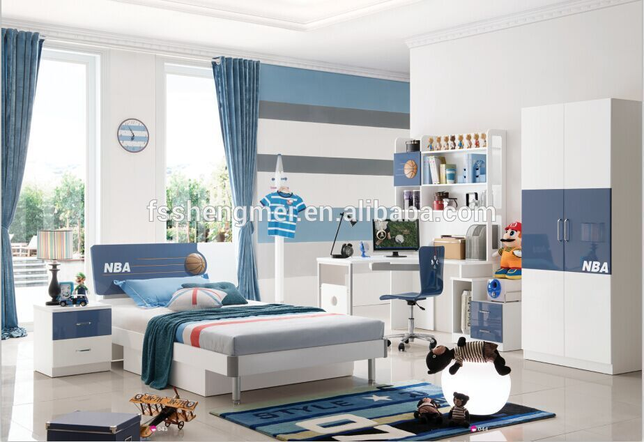 Lovable Bedroom Set With Desk Queen Boys Bedroom Sets Blue Color Kids Bedroom Furniture Queen Size Bed