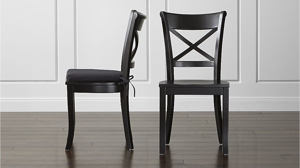Lovable Black Kitchen Chairs Vintner Black Wood Dining Chair And Cushion Crate And Barrel
