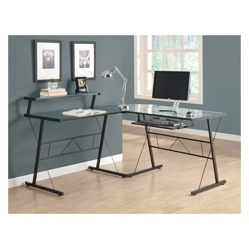 Lovable Black L Shaped Desk Z Line Belaire Glass Top L Shaped Desk Black Hayneedle