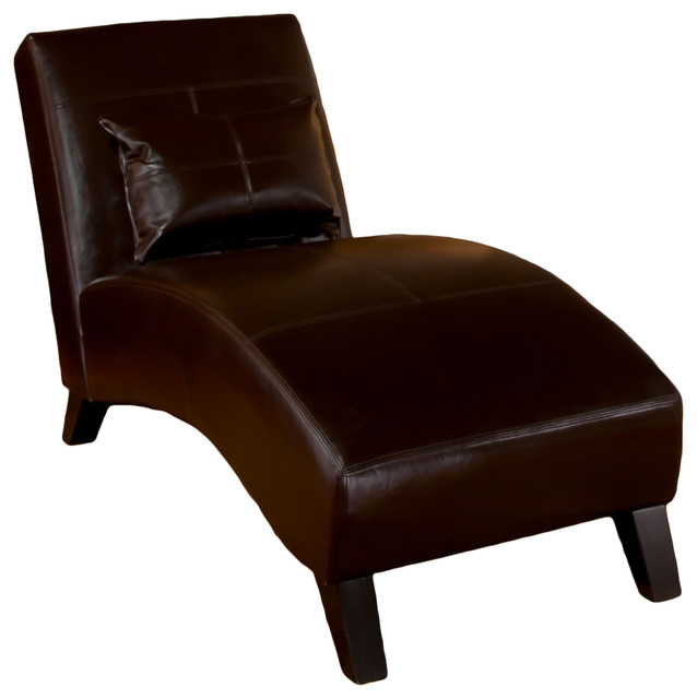 Lovable Brown Chaise Lounge Indoor Brisbane Curved Lounge Chair In Brown Leather Transitional