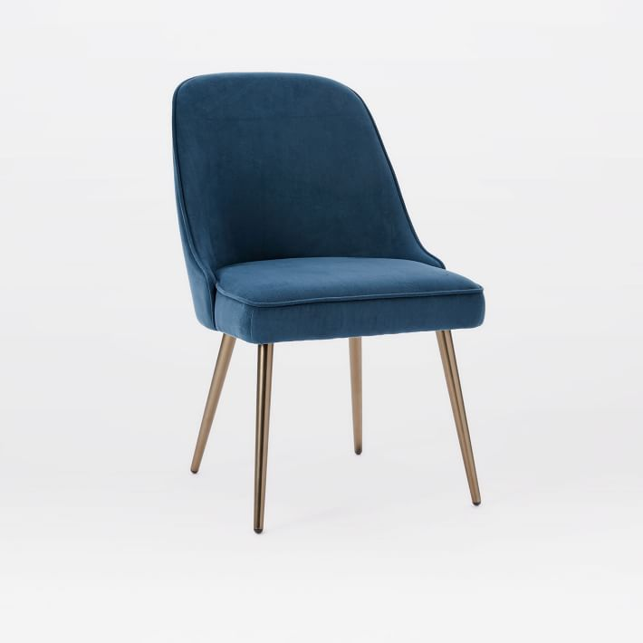 Lovable Chairs For Dining Mid Century Upholstered Dining Chair Velvet West Elm