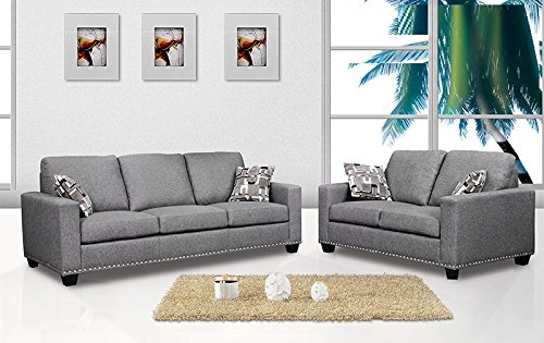 Lovable Charcoal Grey Sofa And Loveseat 2 Piece Sofa Set Sofa Loveseat Dark Grey Color Fabric Nailheads