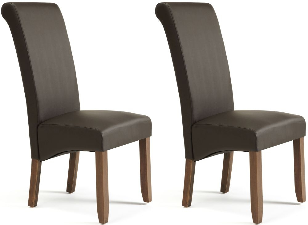 Lovable Faux Leather Dining Chairs Buy Serene Kingston Brown Faux Leather Dining Chair With Walnut